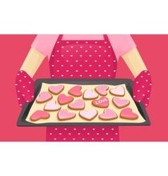 Sweet heart shape cookies vector image vector image