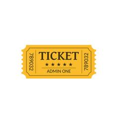 cinema ticket isolated on white retro style vector image