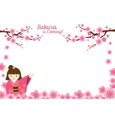 Girl in Kimono with Cherry Blossoms Frame vector image vector image