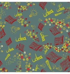 hand drawn seamless pattern with book lamp vector image