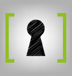 keyhole sign black scribble vector image