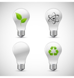 Lightbulb Eco Science Icons Set vector image vector image