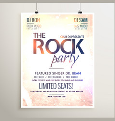Rock party music flyer template with textured vector