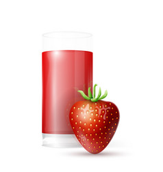 strawberry and glass of juice vector image