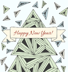 Christmas card made by hand drawn triangles vector image vector image