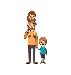 color image caricature bearded father with girl on vector image vector image