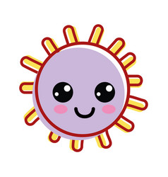 Kawaii happy sun with cute eyes and cheeks vector