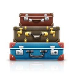 Old retro vintage suitcases bags vector image vector image
