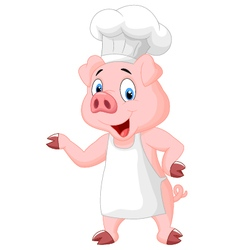 Pig chef cartoon presenting vector image