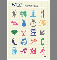 Rest food and hobby icons set vector image vector image
