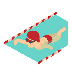 swimmer icon isometric 3d style vector image vector image
