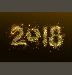2018 new year golden confetti salute number vector image