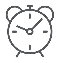 alarm clock line icon time and hour deadline vector image