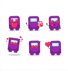 Among us purple cartoon character with love cute vector