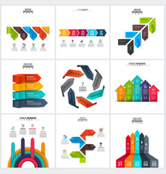 Arrows infographics elements set vector