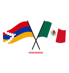 Artsakh and mexico flags crossed and waving flat vector