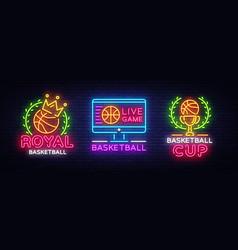 basketball neon logo collection vector image