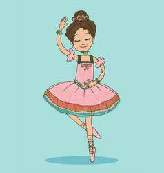 Beautiful brunette ballerina girl dancing vector