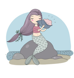 beautiful little mermaid with seashell siren sea vector image