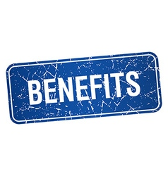 Benefits blue square grunge textured isolated vector