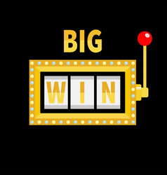 big win text slot machine golden glowing lamp vector image