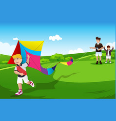 Boys flying kite with their dad vector