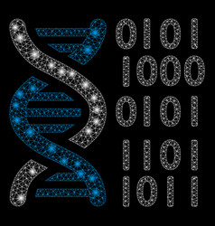 bright mesh network dna binary code with flash vector image