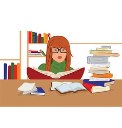 Cartoon young woman in glasses sitting and reading vector image