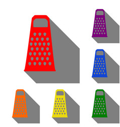 cheese grater sign set of red orange yellow vector image