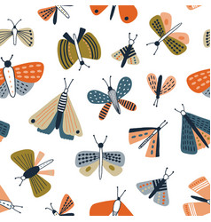 childish seamless pattern with colorful moths vector image