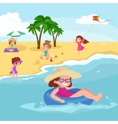 Children summer vacation Kids Playing sand around vector