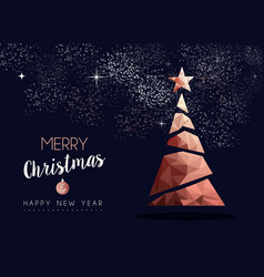 Christmas and new year copper luxury greeting card vector