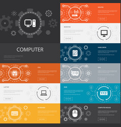 Computer infographic 10 line icons bannerscpu vector