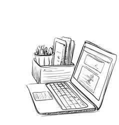 Computer on white background free hand drawn vector