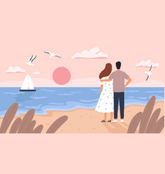 couple at sea sunset man and woman on date at vector image