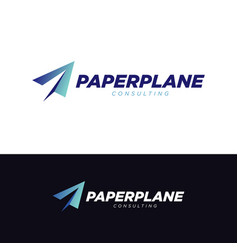 creative blue paper plane logo symbol vector image