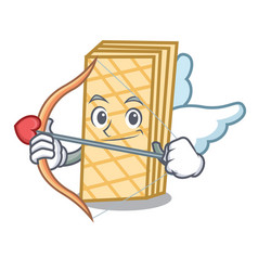 Cupid waffle character cartoon style vector