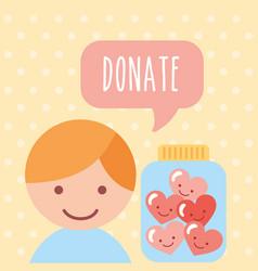 Cute boy speech bubble donate jar coins vector