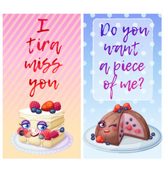 Cute food characters with funny flirty quotes vector