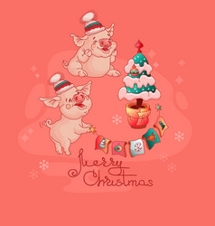 cute pigs in hats near the christmas tree vector image