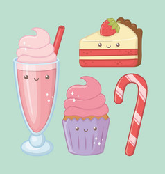 Delicious and sweet products kawaii characters vector