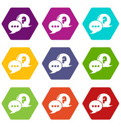 dialog icons set 9 vector image
