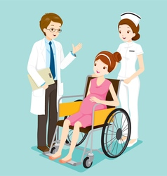 Doctor With Pregnant On Wheelchair And Nurse vector
