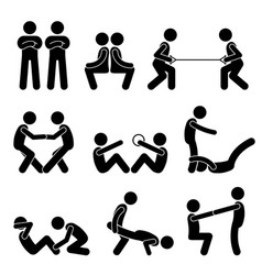 Exercise workout with a partner stick figure vector