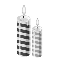 Festive candle icon gray monochrome style vector