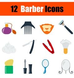 Flat design barber icon set vector