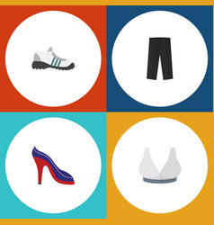 Flat icon garment set of brasserie heeled shoe vector