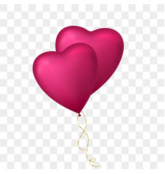 flying bunch of heart shaped balloon vector image