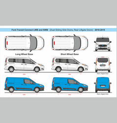Ford transit connect lwb and swb liftgate 2018 vector