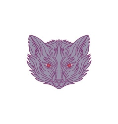 Fox Head Mono Line vector image